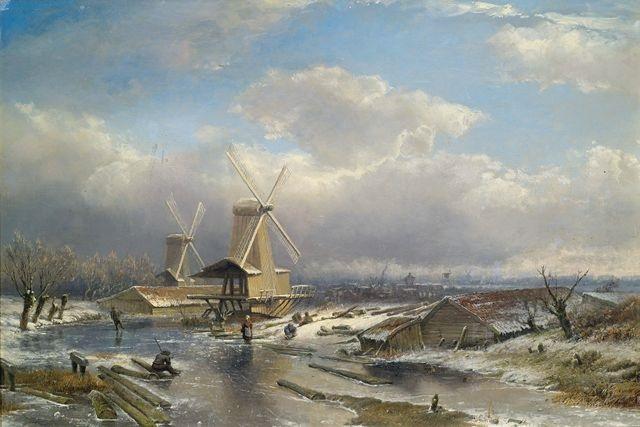 holländische winterlandschaft mit zugefrorenem kanal by pieter lodewijk francisco kluyver