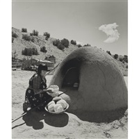pueblo indian baking bread by laura gilpin
