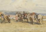 donkeys on whitby sands by john atkinson