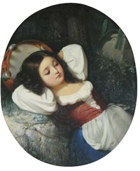 reclining tambourine girl by louis lang