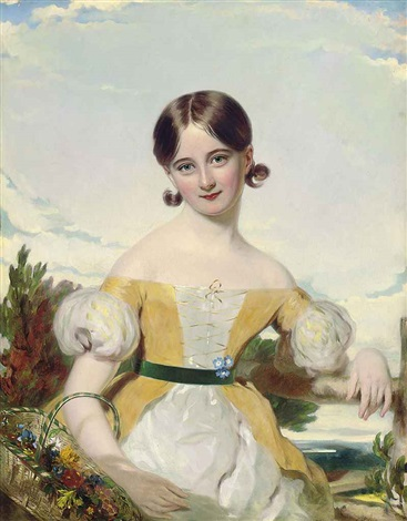 portrait of a young girl in a yellow and white dress with a green sash holding a basket of flowers a landscape beyond by william jnr patten