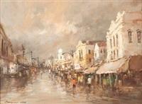 rainy street scene by christiaan nice