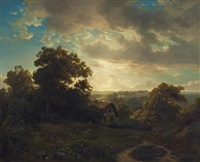 abendstimmung am waldesrand by august weber