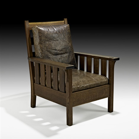 fixed-back armchair (no. 324) by gustav stickley