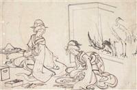 zwei frauen sitzen vor einem paravent und modellieren miniatur-landschaften (preliminary drawing) by toyohara chikanobu