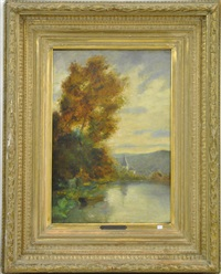 paysage au lac by hippolyte emmanuel boulenger