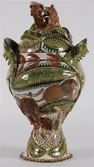 urn and cover (painted by jabu) by ardmore ceramics