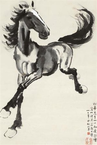 庄敬日强 galloping horse by xu beihong