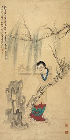 柳下仕女 by zhang daqian