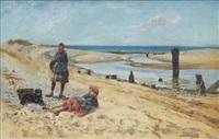 ostronplockerskor vid kusten by henry john yeend king