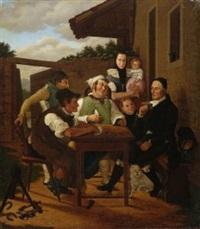 kartenspieler vor dem bauernhaus by johanes baptiste pflug
