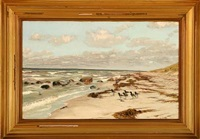 oystercatchers at a coast by vilhelm theodor fischer