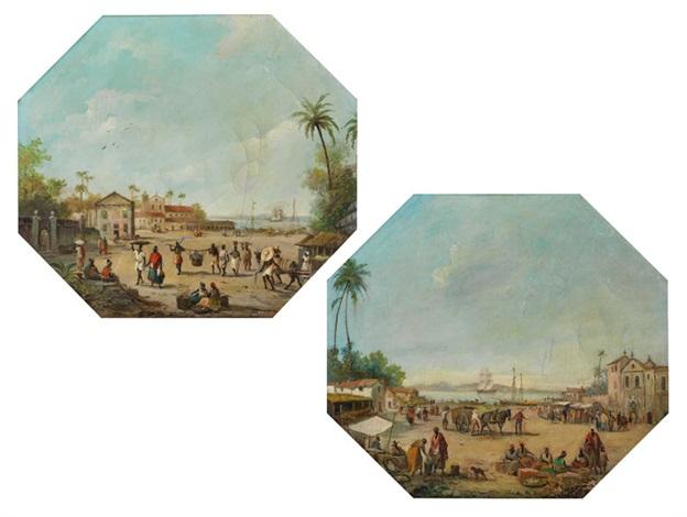 zwei kolonie hafenlandschaften 2 works by gustave louis michel alaux