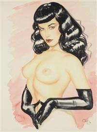 bettie page, a topless portrait with bettie wearing black gloves by olivia de berardinis