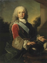 portrait of king ferdinand vi of spain (1713-1759) as prince of asturias, half-length, standing before a portico by jean ranc