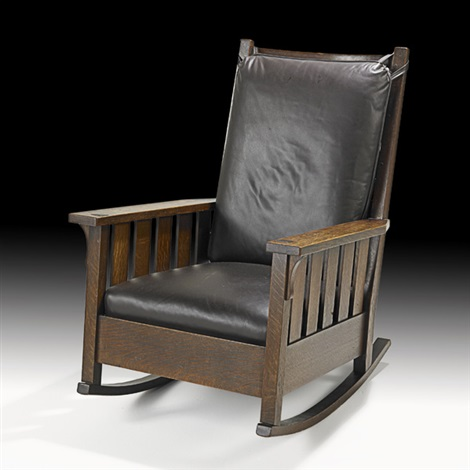 slatted rocker no 323 by gustav stickley