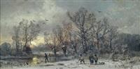 abendliche winterlandschaft mit spaziergängern by adolf stademann