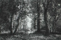 a lady on a forest path by charles linford