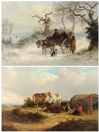 winter landscape with a donkey cart, figures and a dog and summer landscape with gypsies beside a country lane (pair) by thomas smythe