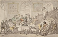 the hunt breakfast by thomas rowlandson