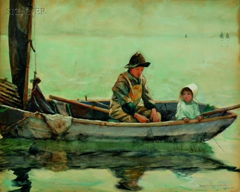 fishing on the lake a monhegan view by george wharton edwards
