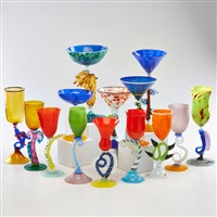 goblets in various, fanciful shapes and sizes (14 works) by murano