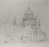 blick auf das potsdamer stadtschloß (sketch) by fritz bleyl