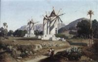 südlandische landschaft mit windmühlen by adolphe-paul-emile balfourier