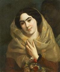 porträt einer dame mit tuch by arsene hurtrel