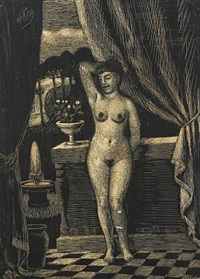 female nude in a classical interior by thomas arnel