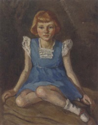 portrait of a young girl, seated in a blue dress with lace collar and sleeves by bernard fleetwood-walker