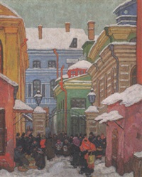 winterlicher straßenmarkt in wilna by walter buhe