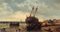 bretonische strandpartie mit segelschiff und booten by j. courcelles