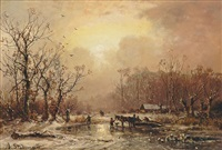 winterliche flusslandschaft by adolf stademann