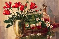 stilleben mit rosen, christrosen, likörflasche und 2 gläsern by jan bohumil pospisil