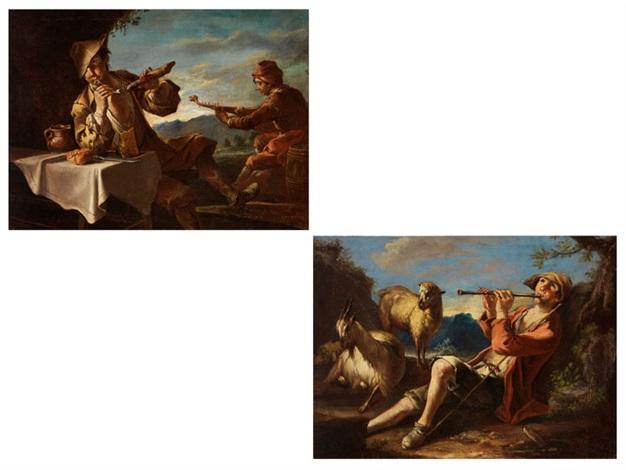 flötenspielender hirte im gras neben ziege und schaf junger mann am tisch mit brot käse und meerschaumpfeife daneben ein mandolinenspieler pair by giacomo francesco cipper