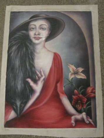 portrait of woman in red dress by zara kriegstein