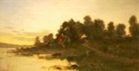 landskap med byggnad vid vattendrag by arvid mauritz lindström
