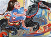 a girl riding on carousel by susana gordon attias