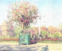 parkscene med blomstrende træer og buske by ioannis (jean h.) altamura