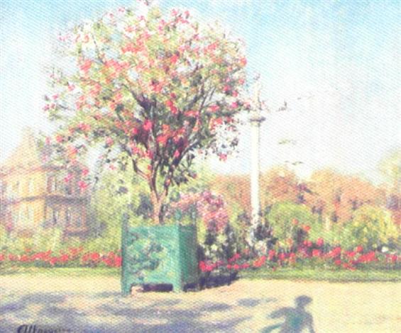 parkscene med blomstrende træer og buske by ioannis jean h altamura