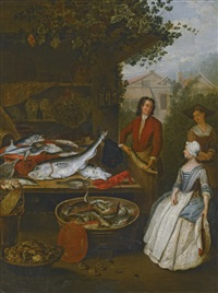 a fishmonger showing a pike to a housewife by a stall laden with fish by pieter angillis
