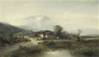 a figure before an alpine chalet by heinrich hiller