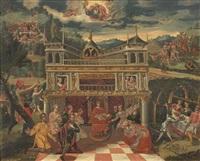 missing artist paesaggio con palazzo e scena di omaggio a un monarca, con in alto il padreterno by flemish school (17)