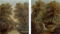 bow (?) beck (+ bridge on the river nidd; pair) by joseph mellor