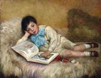knabe mit bilderbuch auf einem sofa liegend by allan douglas davidson