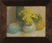still life of yellow flowers and three ases by laura hill