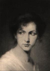 portrait einer jungen frau mit rotem haarband by eugen lingenfelder