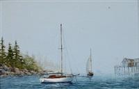 sailboats on a lake by charles r. selmi
