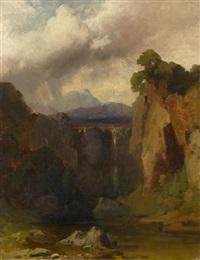 landschaftsstudie mit wasserfall (study) by johann wilhelm schirmer